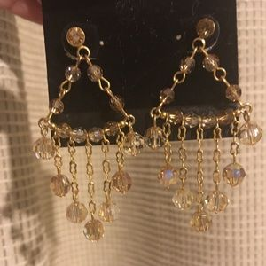 Jewelry - Gold triangle shaped earrings  with dangling beads